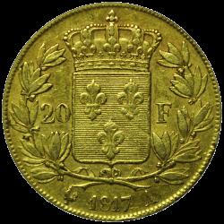 20 francs Louis XVIII or revers