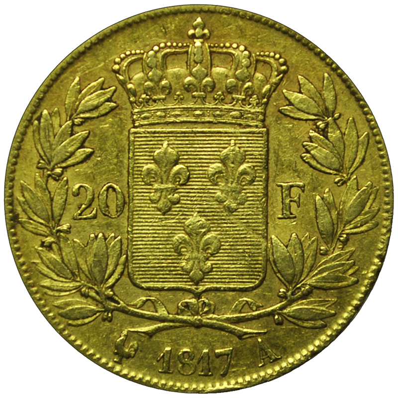20 francs Louis XVIII or revers
