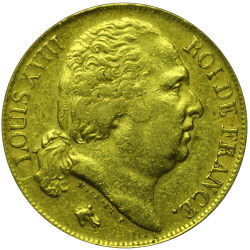 20 francs Louis XVIII or avers