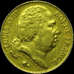 20 francs Louis XVIII or avers