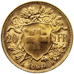 20 francs Suisse or Vreneli revers