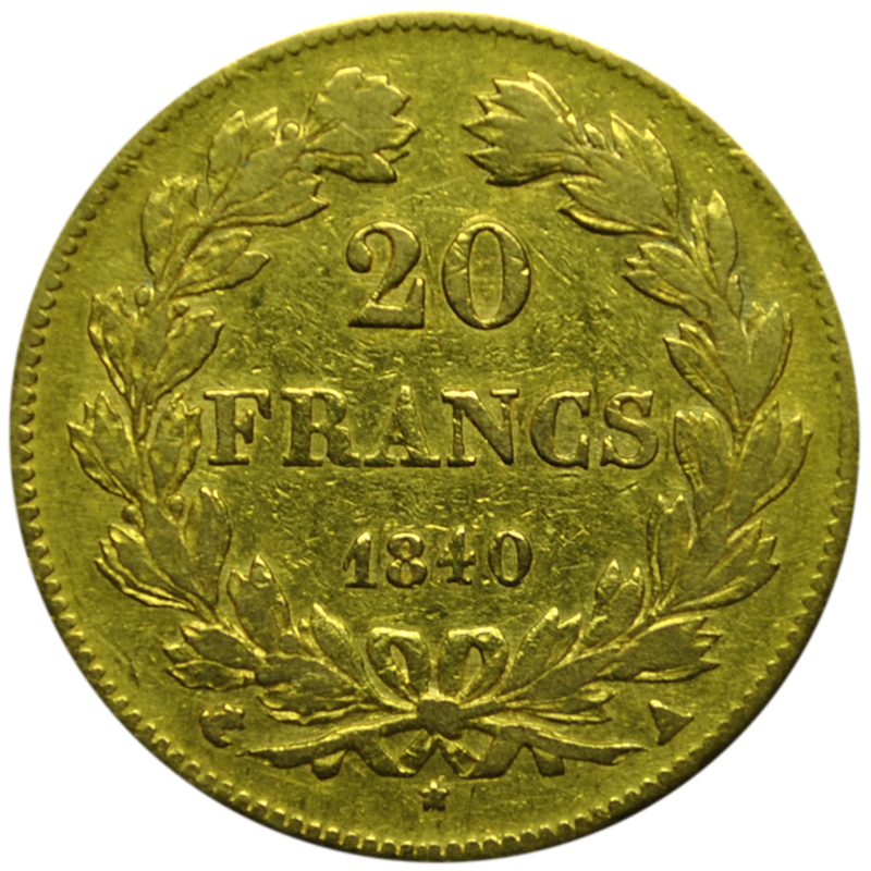 20 francs Louis Philippe or revers