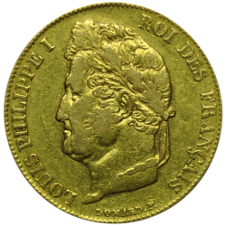 20 francs Louis Philippe or avers